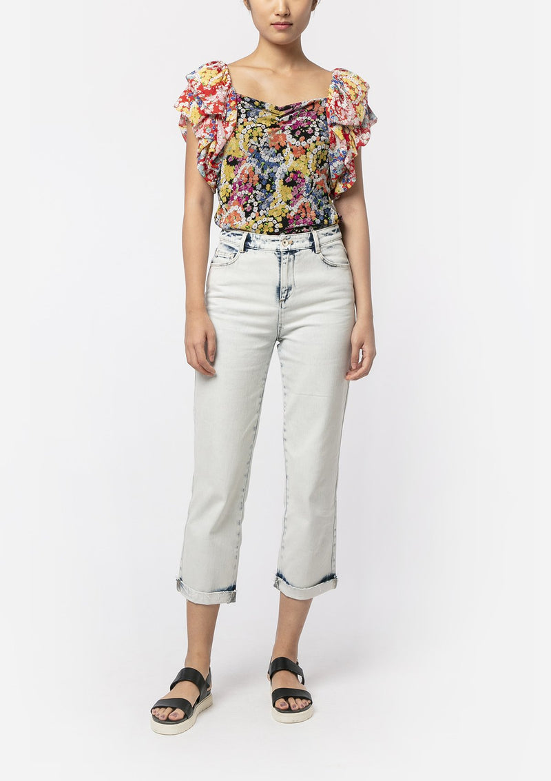 FLOWER POWER RUCHED BLOUSE