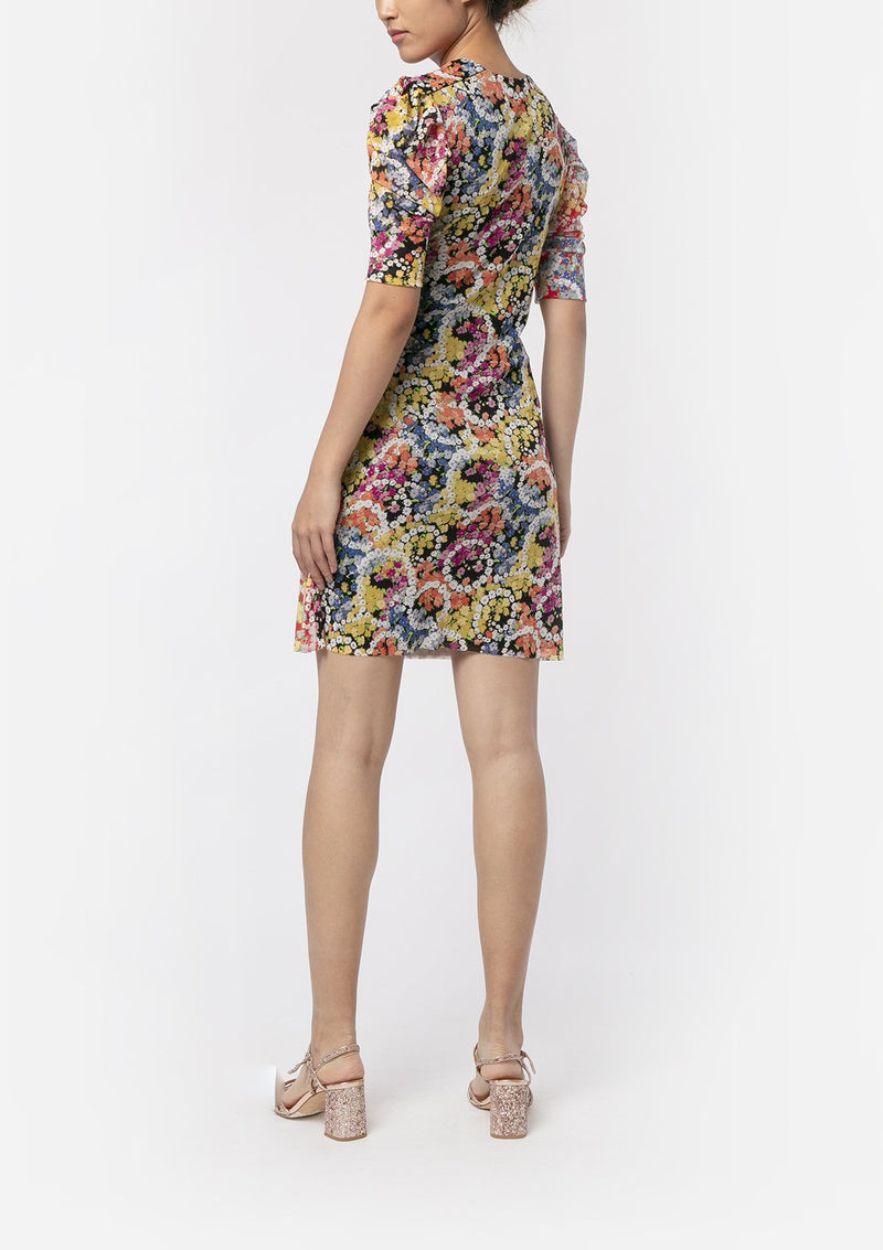 FLOWER POWER RUCHED DRESS