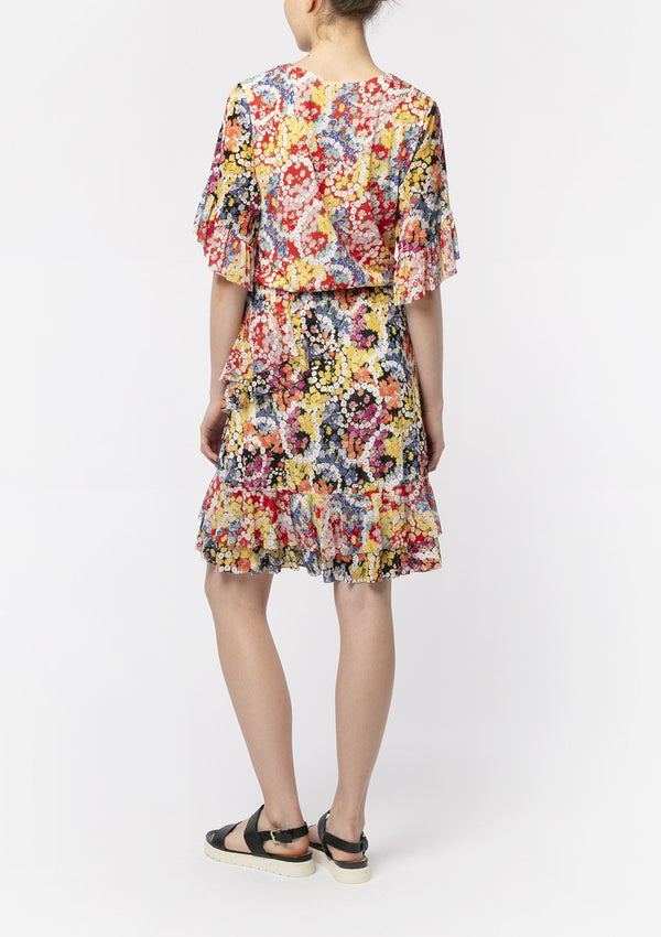 FLOWER POWER BLOUSON RUFFLE DRESS