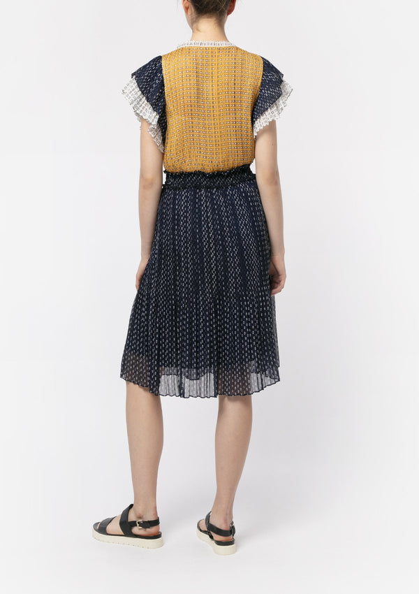 GEOMETRIC CHIFFON PATCHWORK DRESS