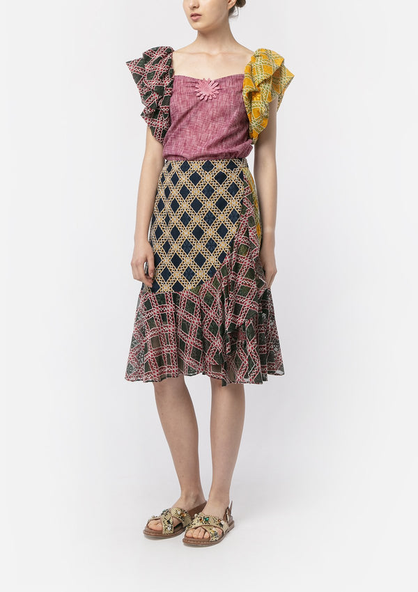 CHECKER LACE PATCHWORK RUFFLE BLOUSE