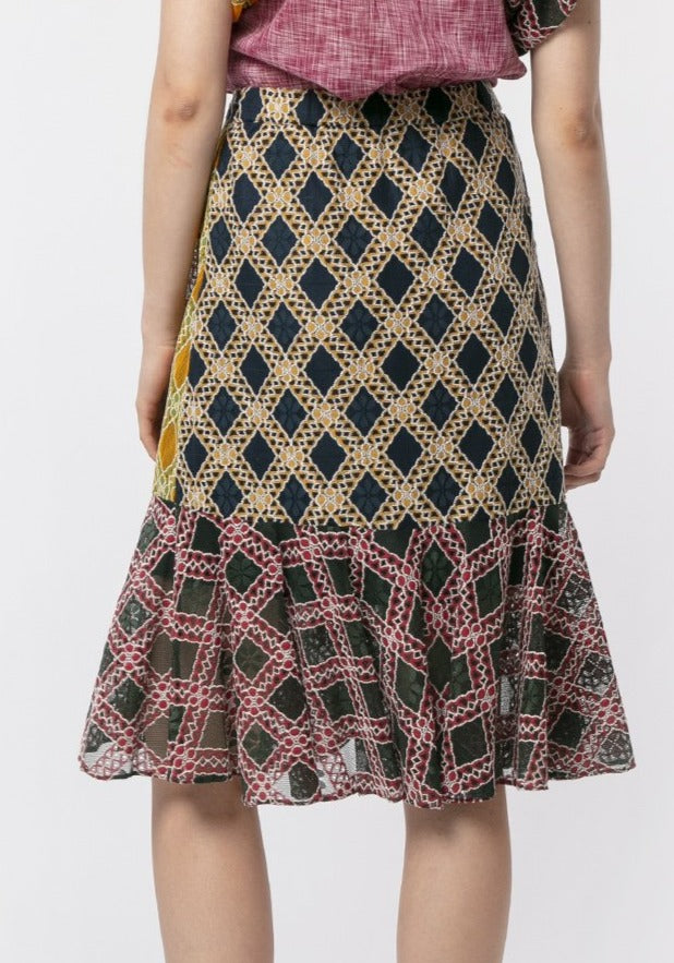 CHECKER LACE PATCHWORK RUFFLE SKIRT