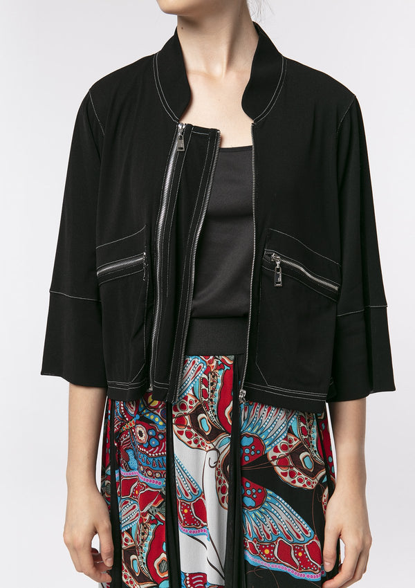 BLACK ZIPPER NETTING JACKET