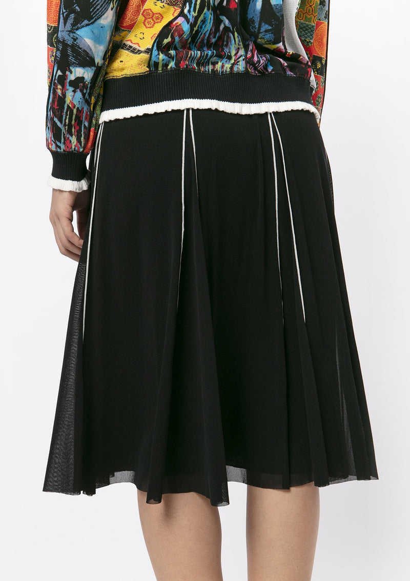 BLACK WHITE TRIM MIDI SKIRT