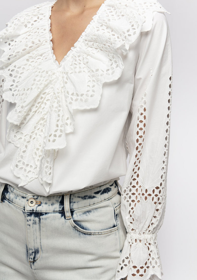 GEOMETRIC EYELET COTTON RUFFLE TOP