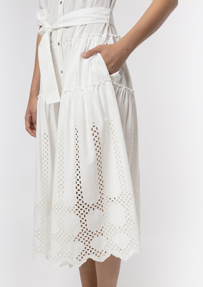GEOMETRIC EYELET COTTON DRESS