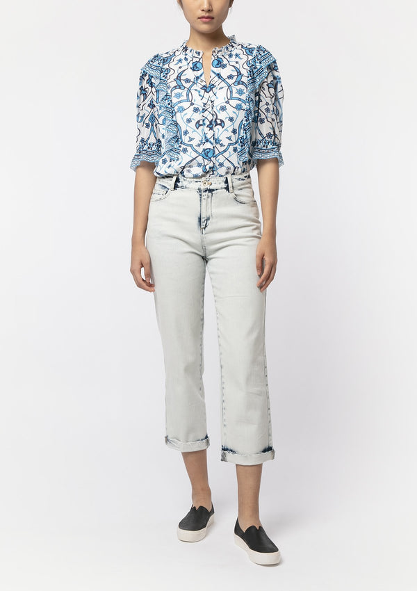 BLUE INDIGO FLOWER BLOUSE