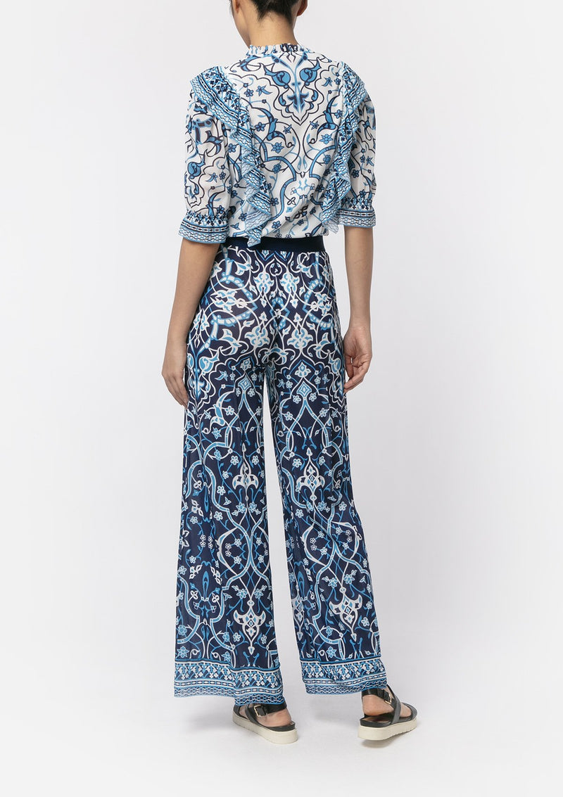 BLUE INDIGO FLOWER WIDE-LEG PANTS