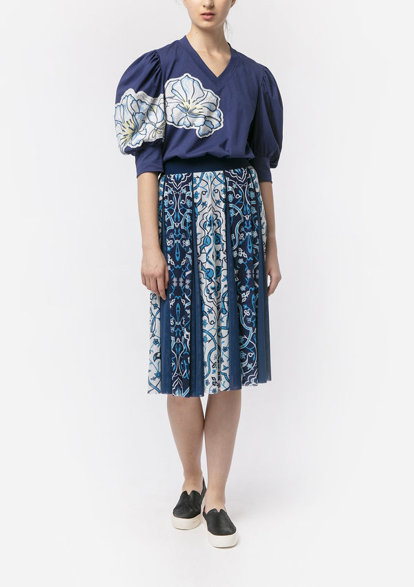 BLUE INDIGO FLOWER MIDI SKIRT