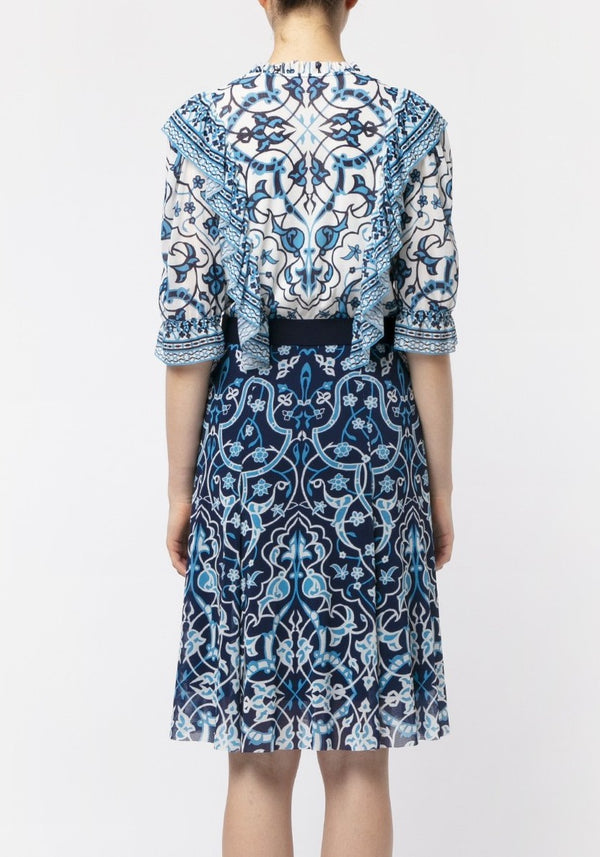 BLUE INDIGO FLOWER MIDI DRESS