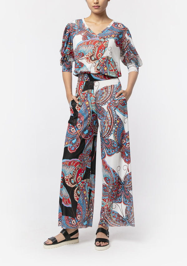 PAISLEY BUTTERFLY NETTING WIDE-LEG PANTS