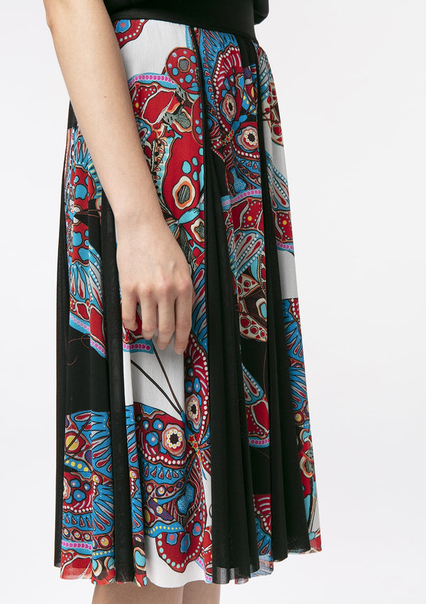 PAISLEY BUTTERFLY NETTING MIDI SKIRT