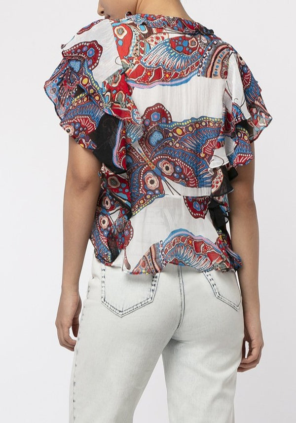PAISLEY BUTTERFLY NETTING BLOUSE