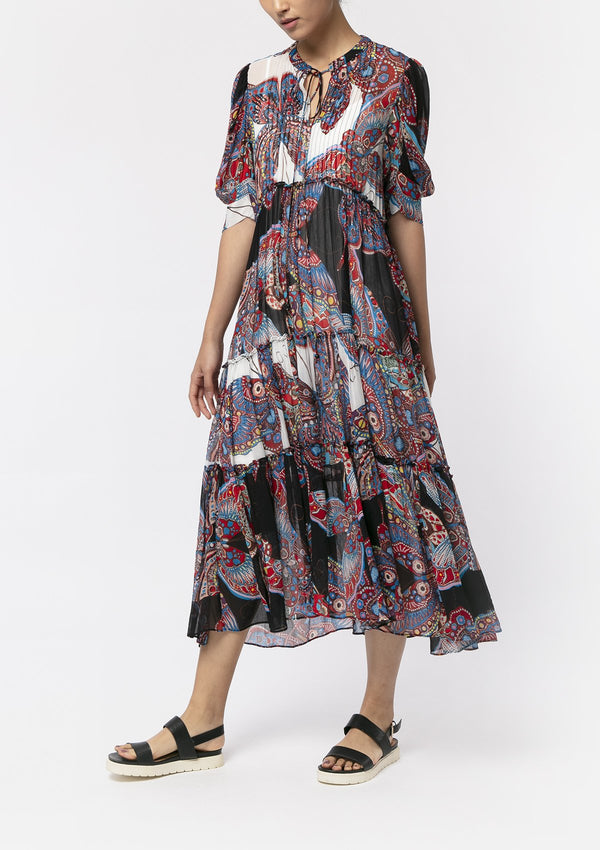 PAISLEY BUTTERFLY MIDI DRESS