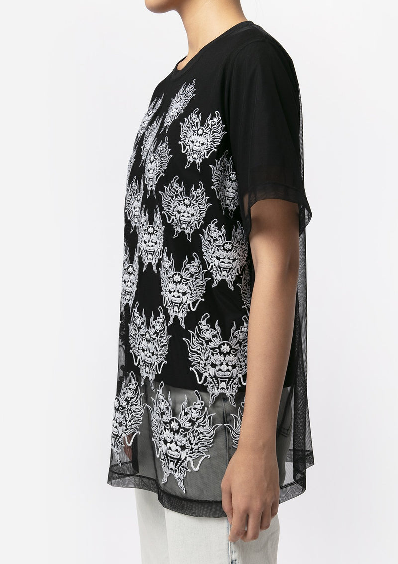 BLACK DRAGON EMBROIDERED TOP