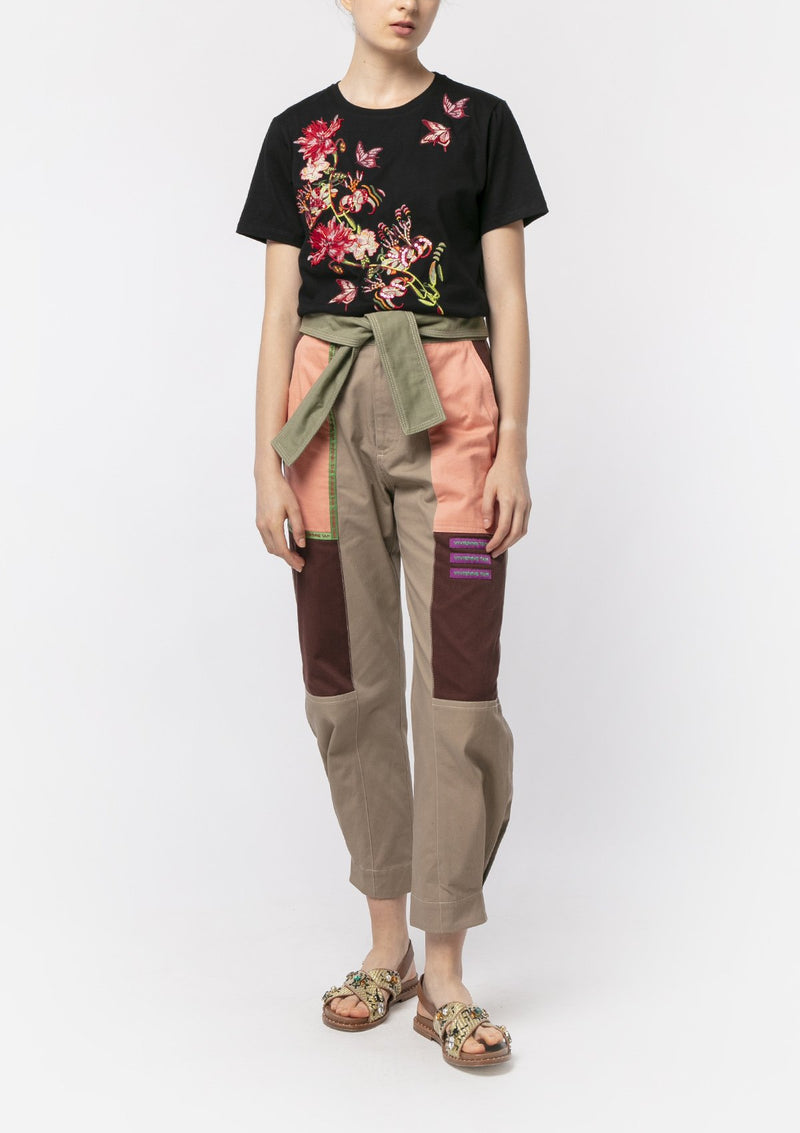 LONGSUILING FLORAL EMBROIDERED T-SHIRT