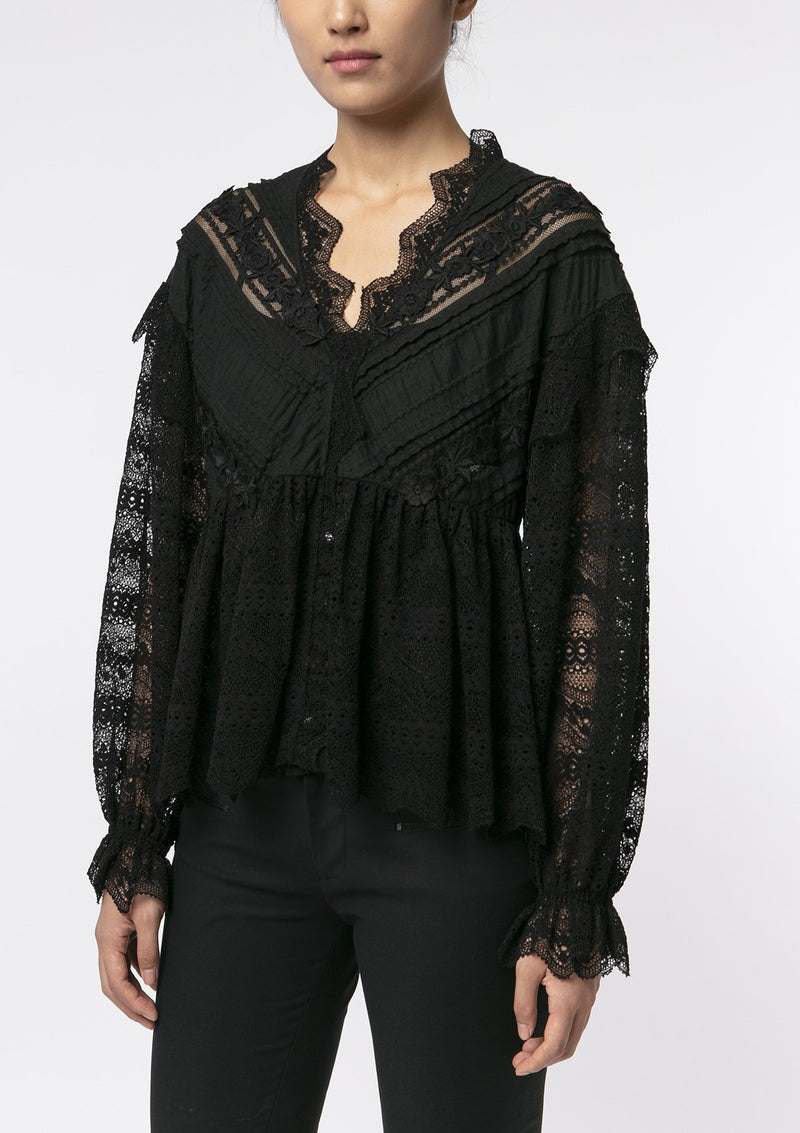 BLACK FLORAL LACE RUFFLE JACKET