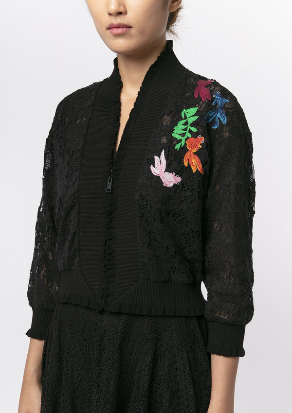 GOLDFISH EMBROIDERY LACE BOMBER JACKET