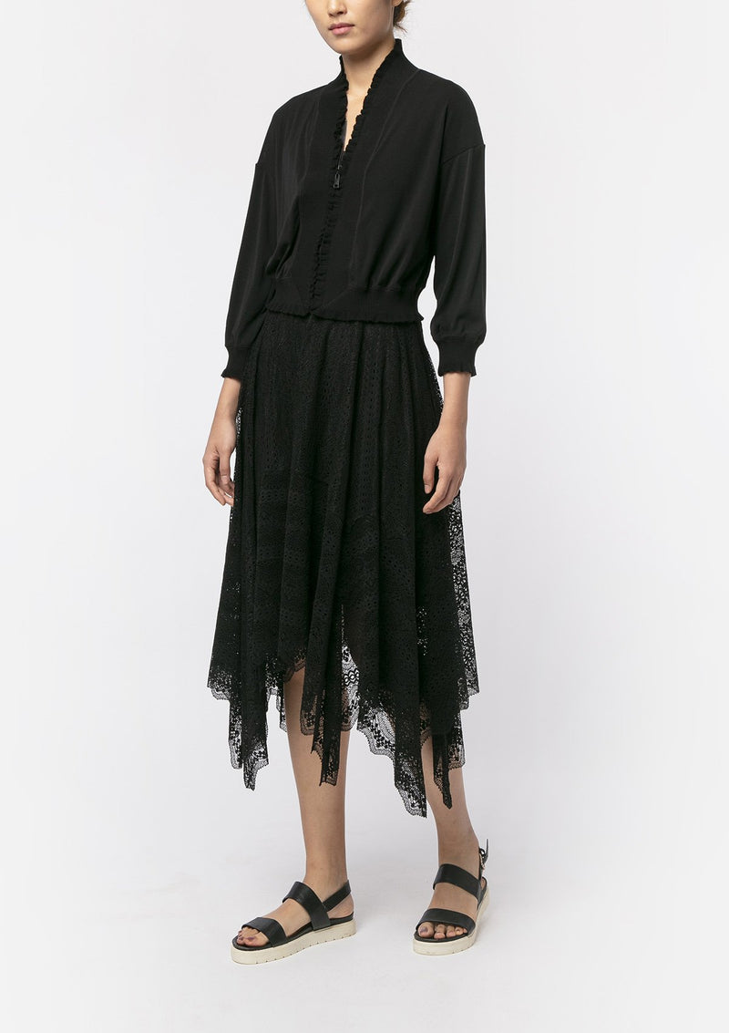 BLACK RUFFLE NETTING TRACK JACKET
