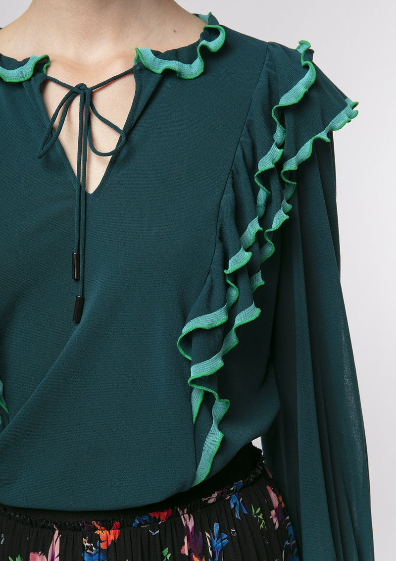 JADE RUFFLE NETTING LONG SLEEVE BLOUSE