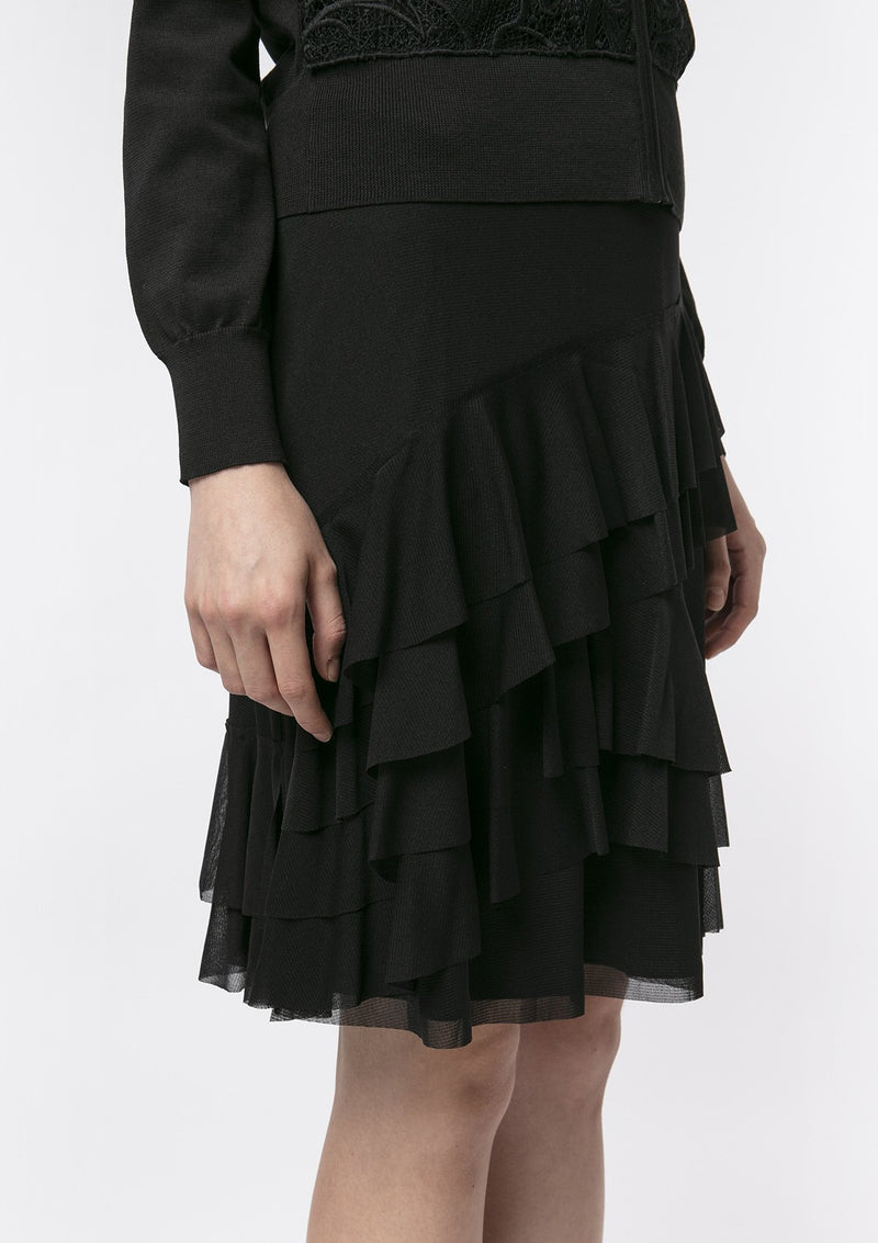 BLACK RUFFLE NETTING SKIRT