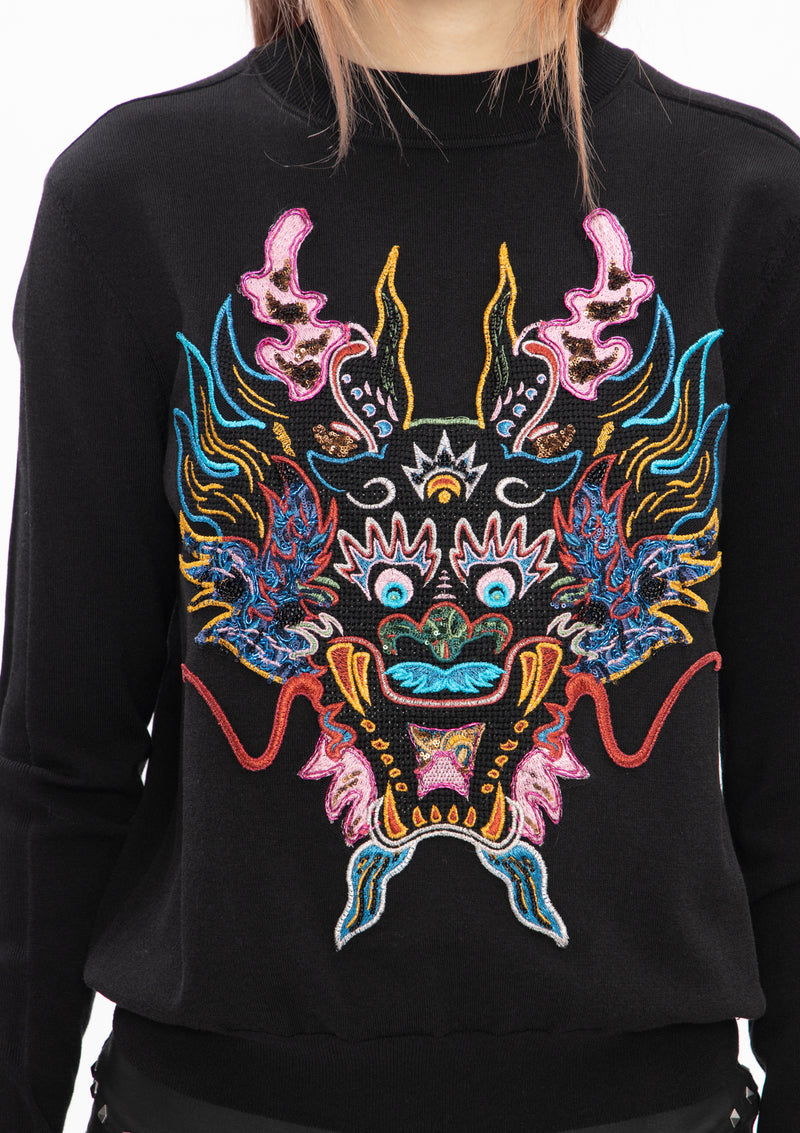 BLACK DRAGON EMBROIDERED SWEATSHIRT