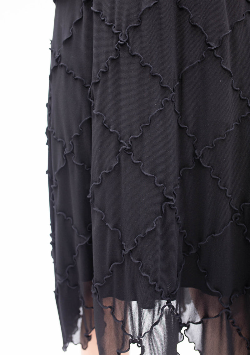 BLACK DIAMOND CUT PATCHWORK SKIRT