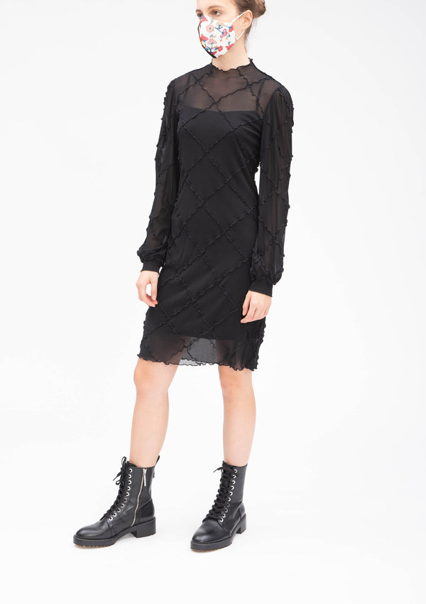 BLACK DIAMOND CUT PATCHWORK DRESS