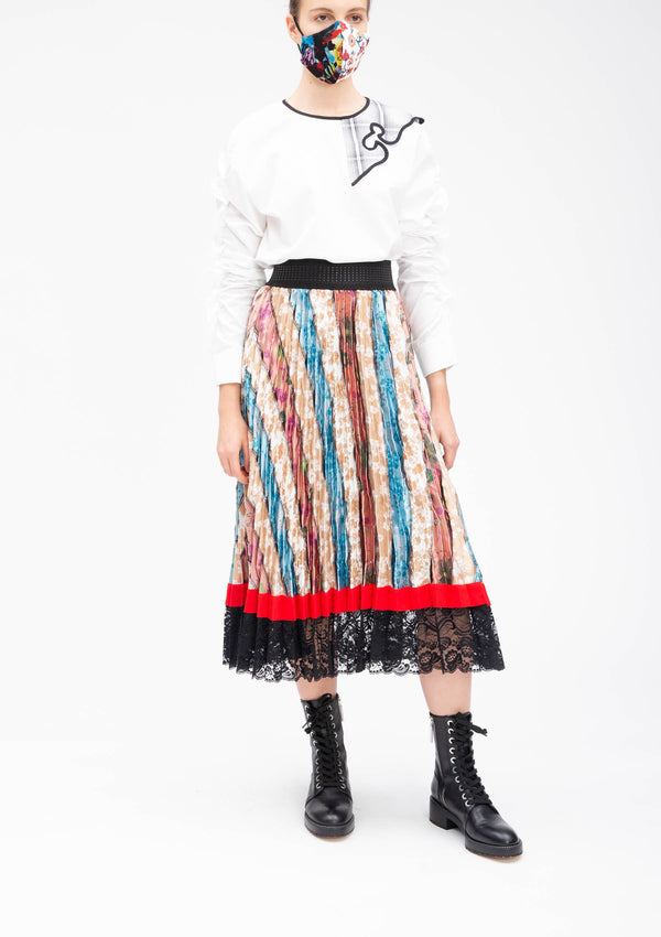 ** Selected Item ** JACQUARD PATCHWORK SUN PLEATED SKIRT