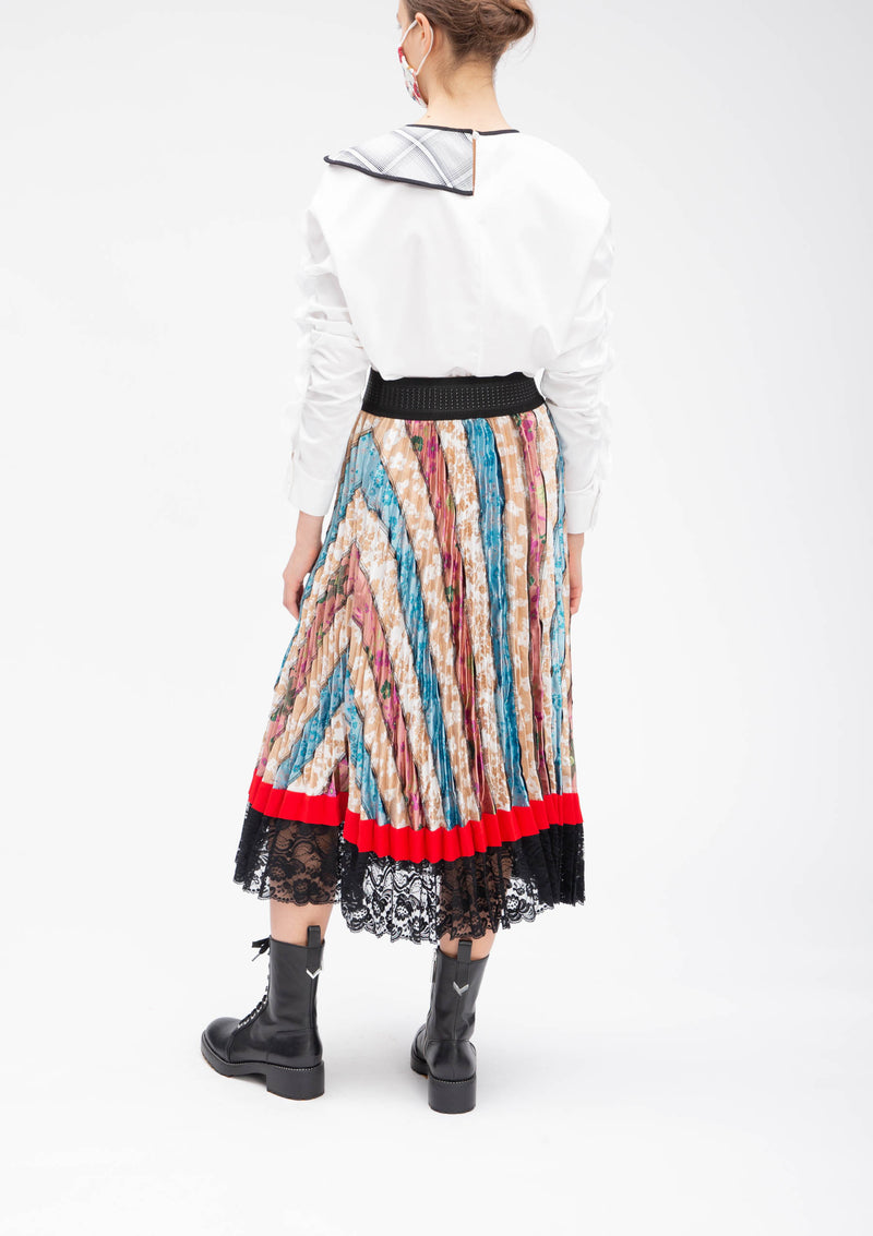 JACQUARD PATCHWORK SUN PLEATED SKIRT