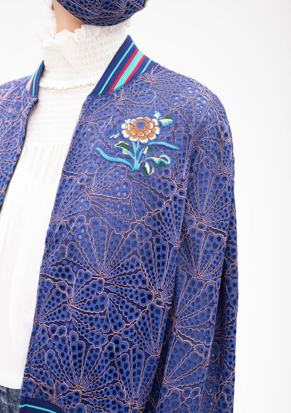 CHINESE FLORAL EMBROIDERY BADGES LACE BOMBER JACKET