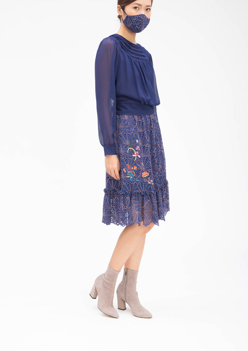 CHINESE FLORAL EMBROIDERY BADGES LACE SKIRT