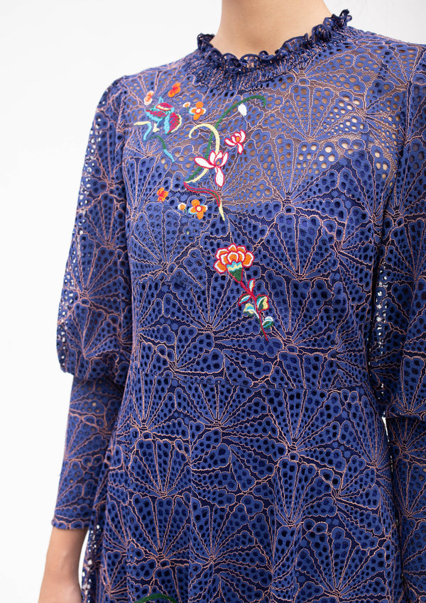 FLORAL EMBROIDERY BADGES LACE DRESS