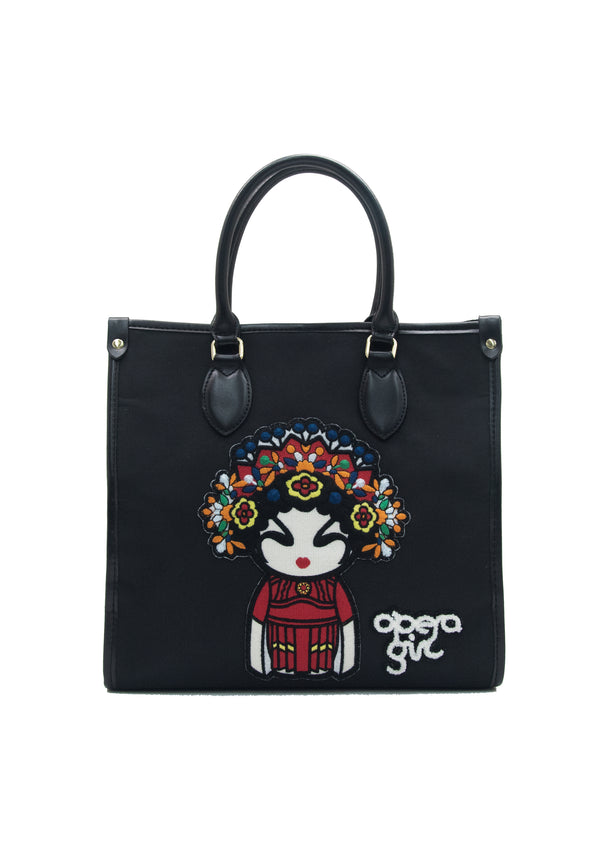 OPERA GIRL EMB BADGES MEDIUM TOTE BAG