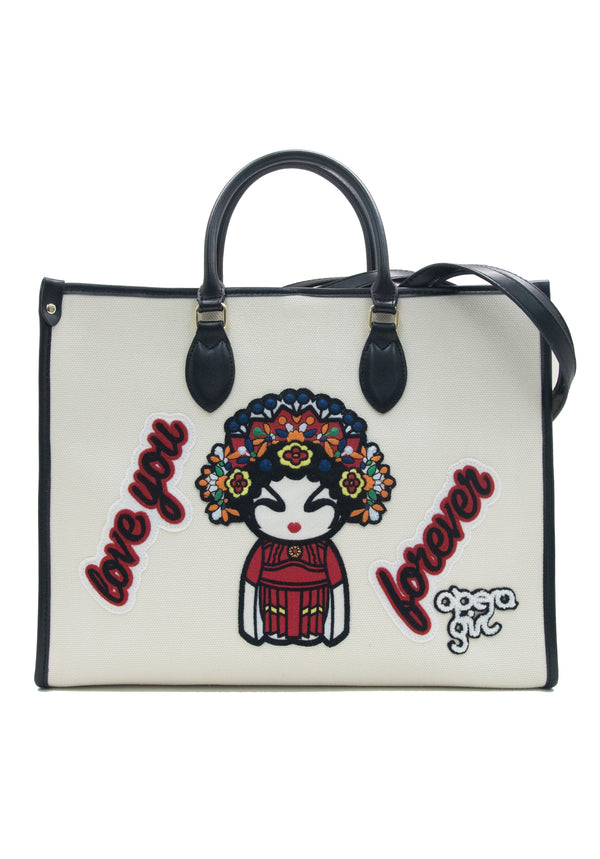 OPERA GIRL EMB BADGES LARGE TOTE BAG