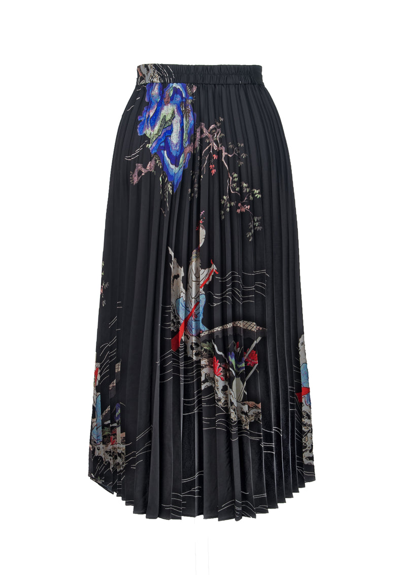 IMMORTAL LANDSCAPE POLY SATIN PLEATING SKIRT