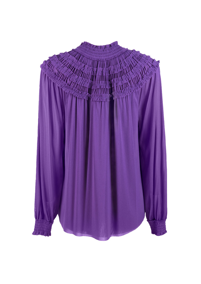 HIGH COLLAR PLEATED NETTING TOP