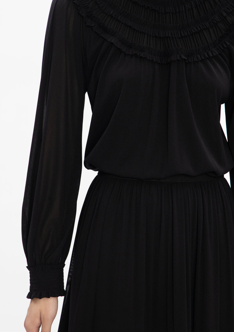 HIGH COLLAR PLEATED NETTING DRESS