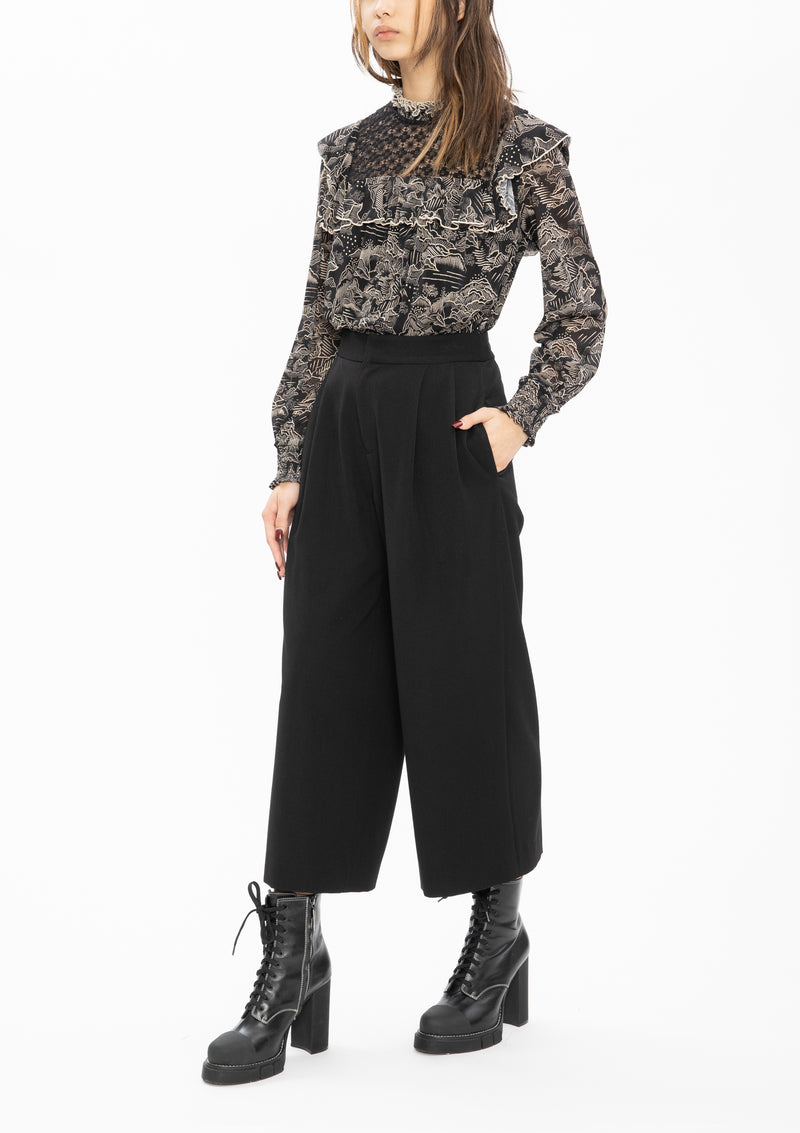 BLACK SOLID STRETCH POLY WOVEN CULOTTES PANTS