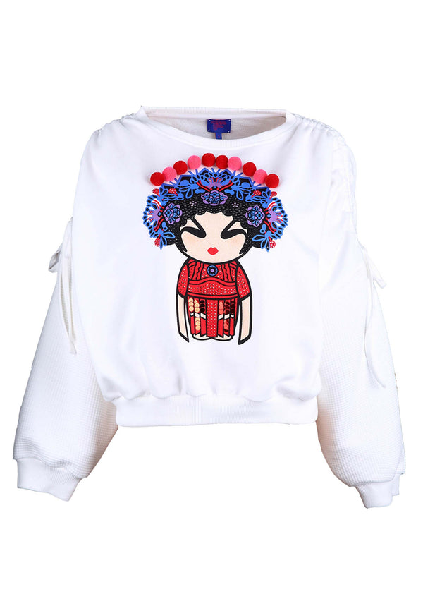 WHITE OPERA GIRL PRINT WITH POM POM SWEATSHIRT
