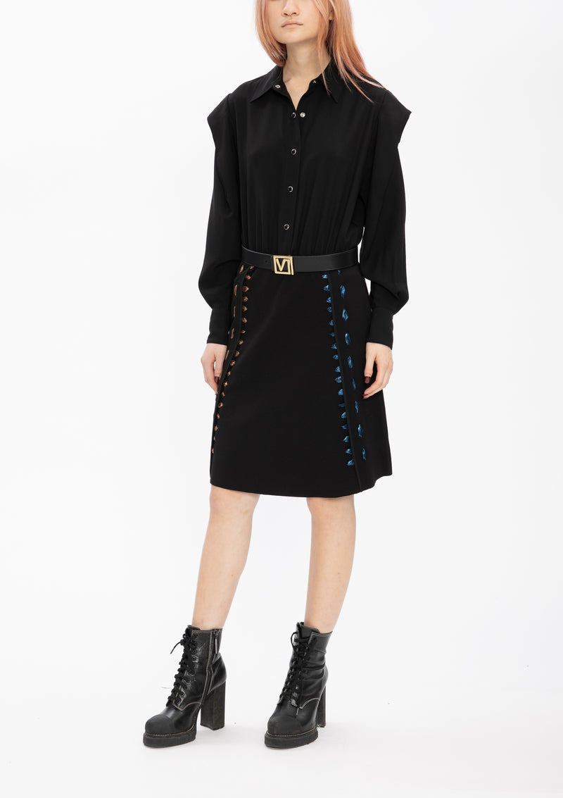 TEXTURE FAUX LEATHER PONTI BLACK LACING DRESS