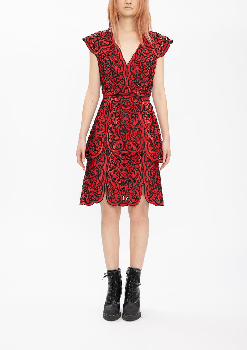 RED CORDING CUT OUT LACE GLOSSY WOVEN DRESS