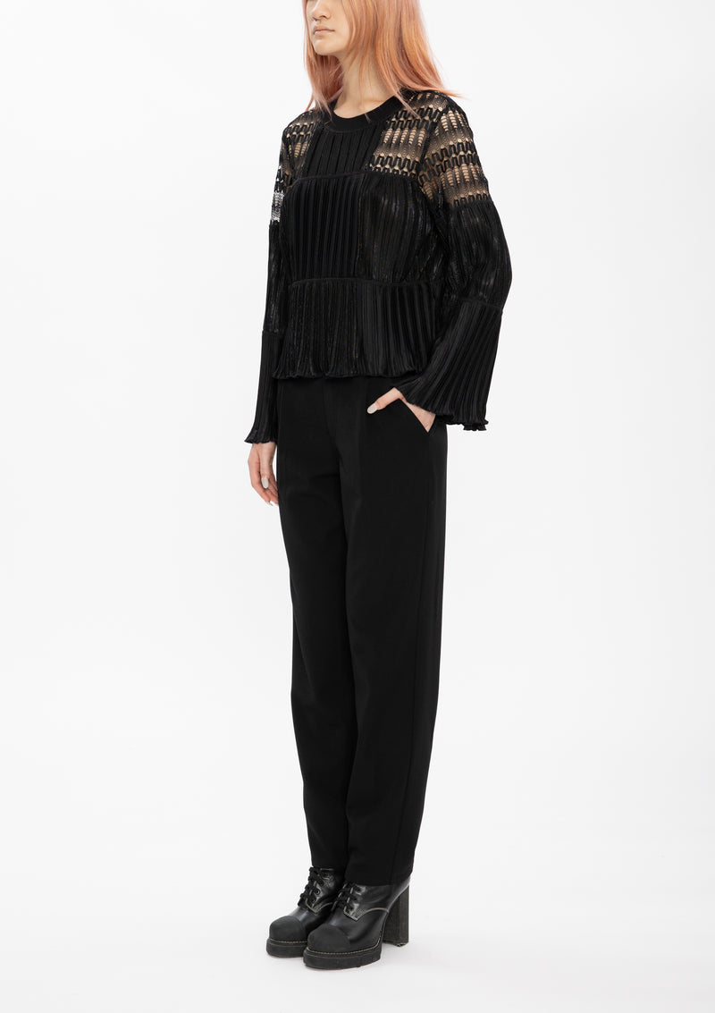 BLACK PLEATED POLY PULLOVER TOP