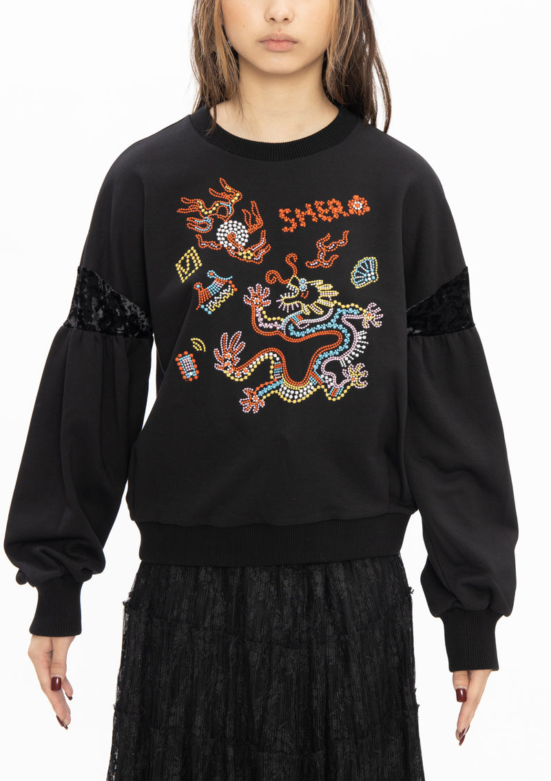 DOT DRAGON EMBROIDERY TOP