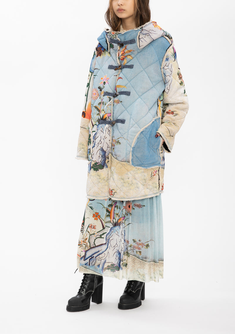 SCHOLARS ROCK BLUE QUILTED NETTING COAT