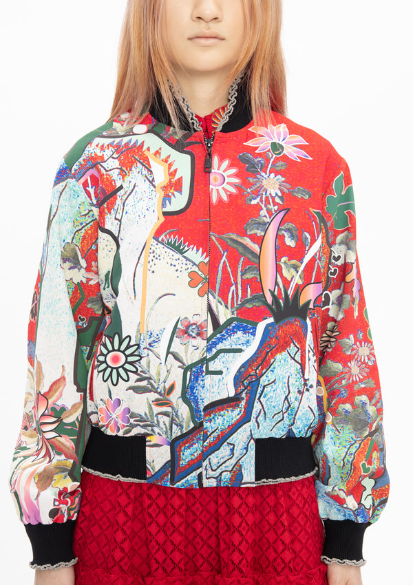 SCHOLARS FLORAL ROCK POLY SATIN BOMBER JACKET