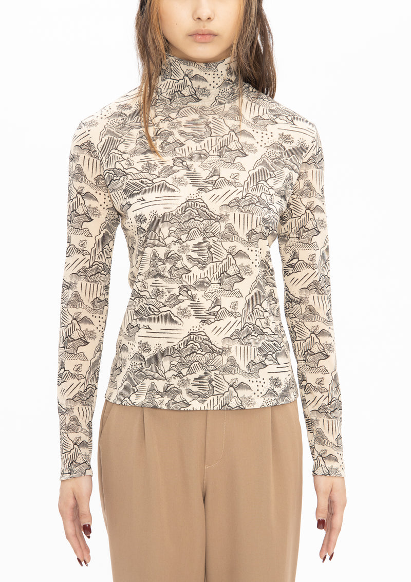 CREAM BLACK LANDSCAPE NETTING HIGH COLLAR TOP