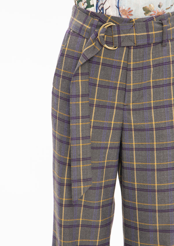 BEIGE PLAID RUYI POLY TROUSERS