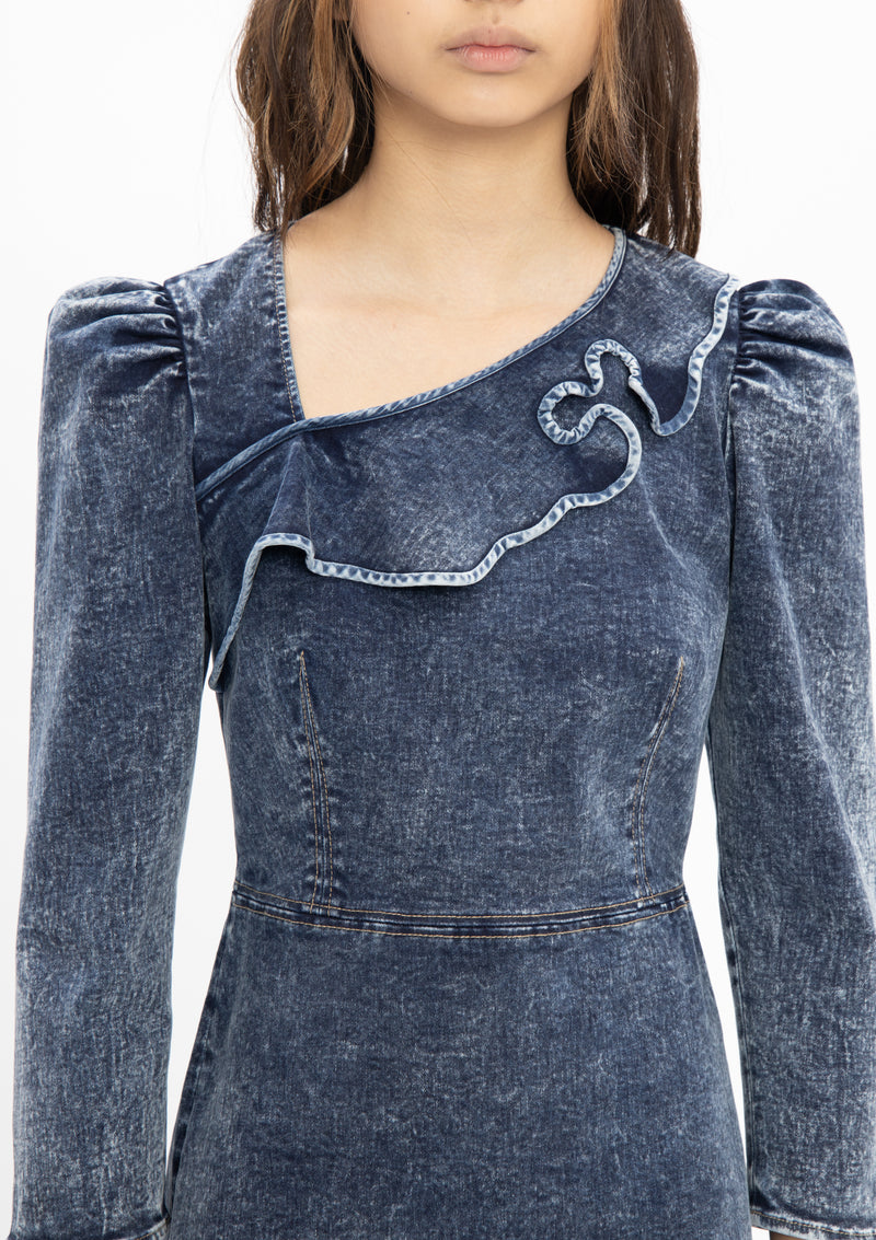 RUYI DENIM GREY COTTON RUFFLE DRESS