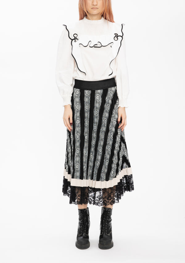BLACK JACQUARD PATCHWORK PLEATING SKIRT